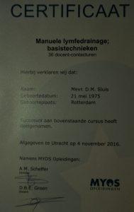 Certificaat lymfdrainage